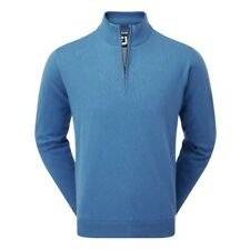 Footjoy PARA HOMBRE Lana De Cordero Forrado Half Zip Cálido Suéter De Golf (Azul)