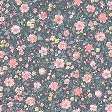 Blumen Tapete Grün Gelb Rosa  Rasch Textil Petite Fleur  288390