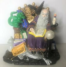 Ceramic Wizard and Baby Green Dragon Figure- Mythical, Magic, Crow, Crystal Ball