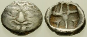 027. Greek Silver Coin. PARION, Mysia. AR Drachm. Gorgoneian / Cruciform Incuse