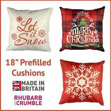 "Christmas Cushion Filled 18"" Cover Pillow Case Cotton Linen Home Sofa Throw Deco"
