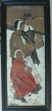 Original Watercolor By A M Cooper 'Pilgrim' Early 19th Cent Gifted/Fare 41 X 18