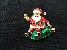 Christmas Holiday Pin Brooch Santa Claus with green sack of toys Enamel
