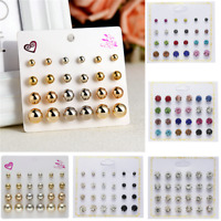 12Pairs Crystal Zircon Stainless Steel Earrings Women Girl Ear Stud Sets Jewelry