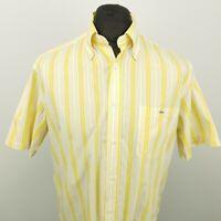 Lacoste Mens Vintage Shirt 41 MEDIUM Short Sleeve Yellow Regular Fit Striped