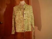 Coldwater Creek women's green floral jacket, L, unlined, cotton, snaps & zipper