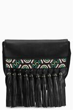 NEW Next Real Leather And Suede Embroidered Clutch Handbag With Tassels