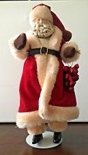 Vintage Santa Claus Doll 11� Porcelain Head Soft Body w/ Stand Christmas Decor