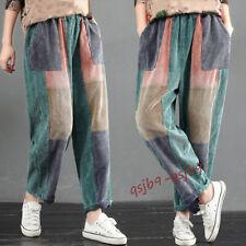 Vintage Womens Corduroy Loose Harem Pants Elastic Waist Casual Trousers Comfort