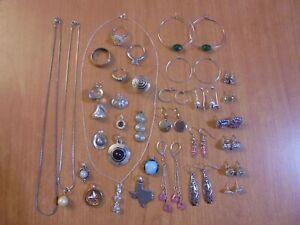 Vtg Silver tone earrings rings pendants necklace jewelry large lot
