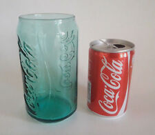 Coca Cola Glass Green Can Shape & Empty Red Can In Greek Collectable Advertising