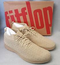 Fitflop Uberknit Slip On High Top Sneaker Waffle Knit Beige Sand Trainer Size 12