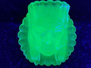 Blue Vaseline glass Indian head toothpick holder uranium cobalt chief match glow