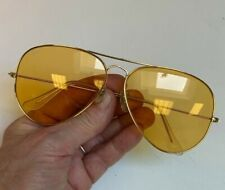 Vintage Bausch & Lomb Ray Ban Hunting Aviators~62#14~gold frame~yellow lenses