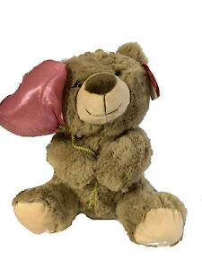 TAN Plush Valentine's Day Teddy Bear Holding a Heart Balloon with Gift Tag Love