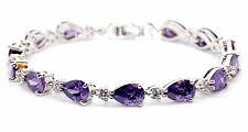 10kt White Gold Filled Amethyst And Wihte Topaz 15.10ct Tennis Bracelet