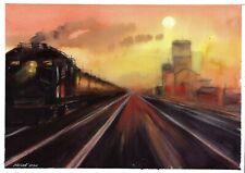 original drawing A4 310LM art by samovar watercolor landscape sunset Signed 2020