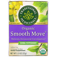Organic Smooth Move, Senna Peppermint, Caffeine Free, 16 Wrapped Tea Bags, 1.13