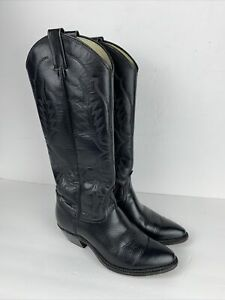 Black Leather Western Cowboy Women Boots Sz 5.5M Made in USA