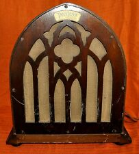 Peerless Antique 1920's Radio Reproducer Speaker Cathedral Style Wood Cabinet