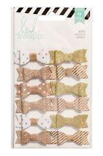 Heidi Swapp Fabric Bows Gold & White 12 Piece