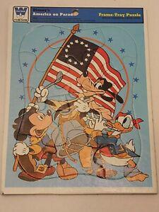 VTG 1976 Whitman Disney's America On Parade Frame Tray Puzzle Disney Donald Mick