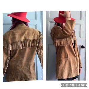 Tassel Fringe Suede Vintage Jacket Boho Festival Cowboy Rock Large Brown Tan