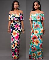 Women Summer Boho Floral Long Maxi Evening Party Cocktail Beach Dress Sundress