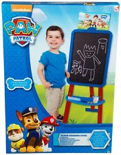 KIDS CHILDRENS PAW PATROL FLOOR STANDING EASEL TWO SIDED WHITE CHALK BOARD BOYS