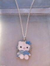 Nuovo di Zecca Hello Kitty Cat Blu Ciondolo in Argento placcato collana in sacchetto da regalo