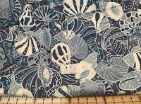 Hoffman Large Seashells Tropical Print fabric BTY