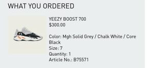 Adidas Yeezy Boost 700 Wave Runner Size 7 *CONFIRMED ORDER*