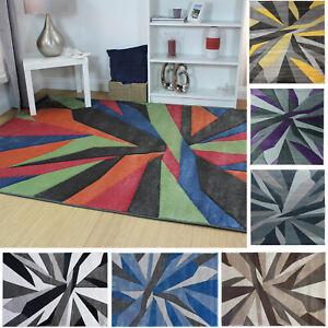 Flair Rugs Modern Shatter Swirls Waves Hand Carved Design Carpet Floor Rugs