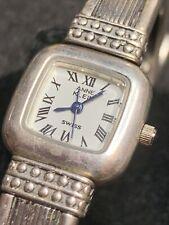 Annie Klein Sterling Silver Watch Needs Battery Swiss Blue Hands