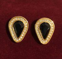 Vintage Swarovski SAL Black Crystal Gold Tone Earrings Upside Down Teardrop