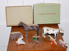 Set of Wooden Farm Animals in the Box