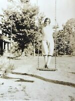 Cross Dresser On A Wooden Swing 1930's Vintage Picture Photograph Odd Unusual