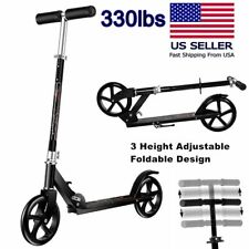 Adult Scooter Adjustable Kick Scooter w/ Easy-Folding System & 200mm Big Wheels