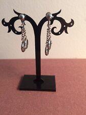 Vintage Alice dangle screw back silver tone ring, earrings.