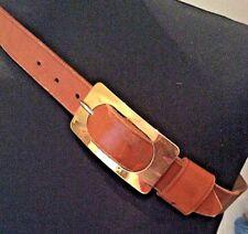 """vintage 1960's tan leather trouser/ jeans 1"""" wide belt brass buckle - 32-34"""" W"""