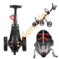 Golf Push Cart 3 Wheel Bag Black Caddytek Folding Trolley Holder Pull Club Caddy