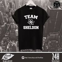 Team Sheldon Cooper Atom Logo T Shirt Top The Big Bang Theory Kaley Cuoco Penny