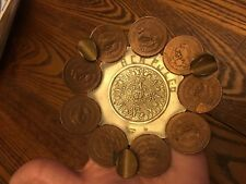 Vintage Aztec Calendar Mexican Copper & Sterling Coin Ashtray -Coins 1944-1954