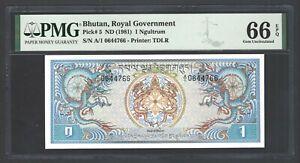 Bhutan 100 Ngultrum ND(1981) P5 Uncirculated  Grade 66