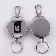 RETRACTABLE STEEL WIRE KEYCHAIN RETURN CLIP KEY RING HOLDER CAMPING TOOL _GG