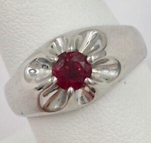 14K White Gold .57CT Ruby Men's Band Ring Size 9.25 9.7 Grams