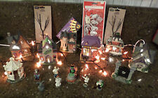 Spooky 19 Pc HAUNTED HALLOWEEN HOUSES VILLAGE LIGHTS PEEPS TREES GATE GAZEBO NEW