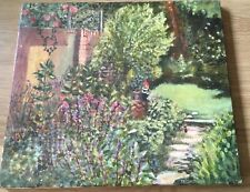 VINTAGE OIL PAINTING ON CANVAS GARDEN SCENE WITH CHEEKY GNOME SIGNED  DATED 76