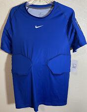 Nike Lacrosse Training Padded Shirt Mens Size Large Blue Shoulder Ribs Padded