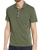 Billy Reid Men's Short Sleeve Pensacola Polo Pocket Shirt Garment Dyed Thyme